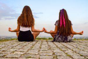Filles, Méditation, Yoga, Relaxation, Détendre